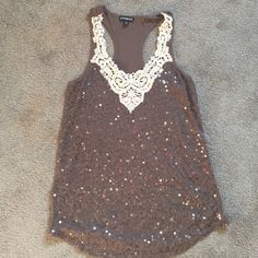 Express racer back sequin tank Perfect condition. Sequins. Racer back. Lace detail on neckline. Express Tops Tank Tops