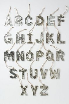Mercury Glass Letter Ornaments from Anthropologie. Great for hanging on the tree or for tying onto gifts. Love em!