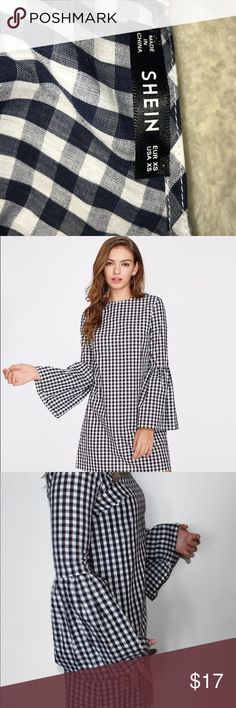 Shein black and white plaid bell sleeve dress Super cute dress Never worn Doesn't look right on me because my hips were too wide and my arms were a little too short.  I am 5' for reference shein Dresses Long Sleeve