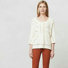 Lerici Sweater by Rosie Neira Lerici Sweater by Rosie Neira for Anthropologie, sold out online, size medium, crop sleeve pullover style, cotton and wool blend, great condition  FYI: my mannequin is a large/xlarge, the sweater is a medium Anthropologie Sweaters