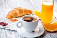 Photo about Continental breakfast with croissant, jam, coffee and orange juice. Image of concepts, drink, butter - 9865528 Petit Déjeuner Continental, Continental Breakfast, Café Croissant, Granola, Vegetarian Recipes, Cooking Recipes, Chocolate Caliente, Jus D'orange, Food Decoration