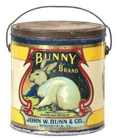 Saved fromadvertisingantiques.comVisitBunny Brand Coffee Tin - RARE early tin litho 4 lb.