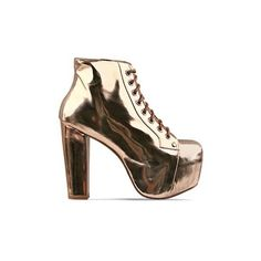 Jeffrey Campbell - Lita ($160) ❤ liked on Polyvore featuring shoes, boots, ankle booties, jeffrey campbell, heels, lita, rose gold, jeffrey campbell ankle booties, heel boots and destroy boots