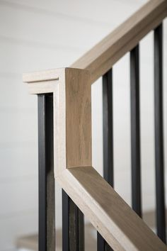Stair Rift White Oak handrail with a custom stain - mimic this metal spindles with dark stain wood? Oak Handrail, Metal Stair Railing, Interior Stair Railing, Stair Railing Design, Staircase Railings, Railing Ideas, Staircases, Bannister Ideas, Hand Railing