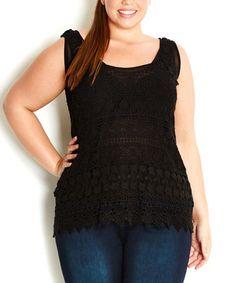 Look at this #zulilyfind! Black Daisy Crochet Tank - Plus by City Chic #zulilyfinds