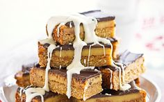 Chocolate caramel slice recipe - By New Zealand Woman's Weekly, The combination of creamy chocolate, sweet, sticky caramel and a crumbly biscuit base is completely unbeatable. This gorgeous caramel slice is perfect for morning tea, or a weekend dessert with loved ones.