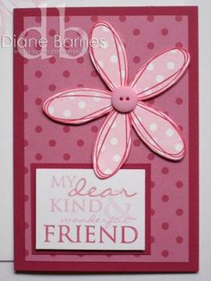 Stampin Up Pick a Petal easy birthday card Simple Birthday Cards, Bday Cards, Homemade Greeting Cards, Casseroles, Card Tags, Gift Tags, Card Patterns, Card Crafts, Flower Cards