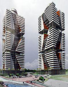 Жилой комплекс из трех высотных домов по улице Полетаева