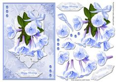 Blue Delicate Flower Bouquet Card Front on Craftsuprint designed by Judith Mary Howells - Sized to fit in an A5 card, a beautiful bouquet of flowers with a floral satin background, decoupage pieces and greeting plates for HAPPY BIRTHDAY and BLANK for any other wording/occasion. - Now available for download!