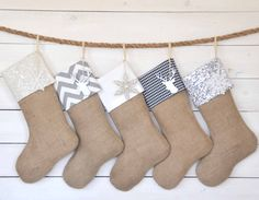 Personalized Christmas Stockings - Black/Silver Set of 5 - Stockings, Burlap Stockings, Silver Stockings, Christmas Stocking Set