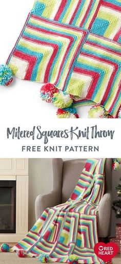 Happy Mitered Squares Knit Throw free knit pattern in Red Heart Super Saver yarn. Easy Knitting Patterns, Free Knitting, Free Crochet, Blanket Patterns, Mitered Square, Super Saver, Soft Blankets, Knitted Blankets, Squares