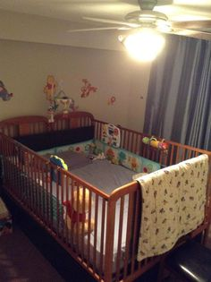 1 Ikea double bed + 2 Storkcraft baby cribs = 1 big baby crib It was fun to build. I cant wait to sleep like baby in it tonight. Black Nursery Furniture, Playroom Furniture, Baby Furniture, Baby Boy, Lil Baby, Nursery Crib, Nursery Inspiration, Nursery Ideas, Room Ideas