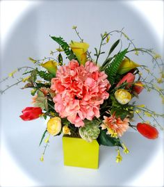 Floral Table Centerpiece - Peach and Yellow Floral Centerpiece-Silk Floral Centerpiece- Hydrangea Floral Arrangement  About this Product: This eye