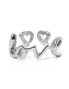 "Silver "" Love "" Adjustable Ring #11foxy"