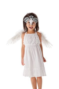 DIY Kids' Halloween Costume  Dove    All You Need Is:  From the closet:White dress    Add:Bird mask($39)and wings($9)  Get this exact look:Dress($12; Target stores)  Leather bird mask($39;TOMBANWELL.ETSY.COM)Club   Angel wings($9;BUYCOSTUMES.COM)