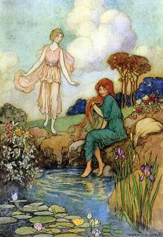 "The Bluebird ""Stopping beside a fountain, she let her hair fall loose, and dipped her weary feet in the cool water"" -  Warwick Goble"