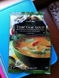Tom Yum Soup: the instructions are very confusing, the wontons are a little strange, and it threw me off that the broth was so cloudy, but the taste is very much what I was looking for.
