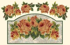 ArtbyJean - Paper Crafts: Make your own key keeper or decoupage door sign - SET #A33 - Golden Vintage Roses.