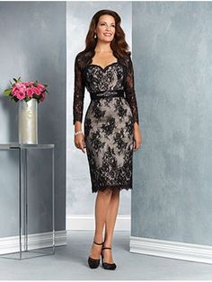Long Sleeves Lace Short Mother of The Bride Dresses with A Jacket  907014