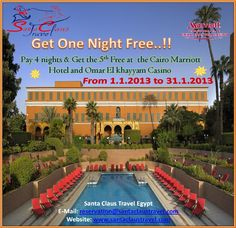 Hurry Up!!  Don't Miss this Hot Offer with Santa Claus Travel Egypt ;)  Contact us now: reservation@santaclaustravel.com Christmas Offers, Marriott Hotels, Cairo, First Night, Get One, Egypt, Santa, Mansions, Travel