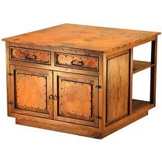Copper Collection - Large Kitchen Island w/Shelves - BUF-12ACU #kitchen #furniture #sale