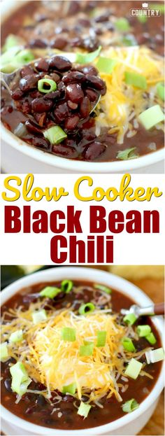 Crock Pot Black Bean Chili with BUSH'S®Organic Black Beans recipe from The Country Cook! #ad #slowcooker #crockpot #dinner #meatlessmondays