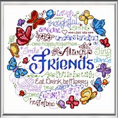 Lets Be Happy Together - cross stitch pattern designed by Ursula Michael. Category: Words.