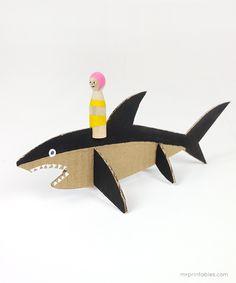 Peg Dolls with Cardboard Sea Creatures - Mr Printables