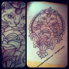 ½ for tomorrow fancy nancy kitty in rose and frame @salonserpenttattoo #tattoo #tattoos