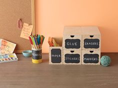 Personalize storage containers with chalkboard labels. Click for a 50% off coupon!
