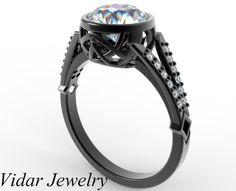 Black Gold Moissanite Engagement Ring