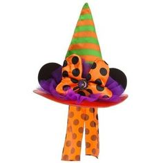 NWT Disney Parks Adult Minnie Mouse Halloween Witch Hat & Bow
