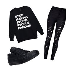 """""""Black"""" by andyytorress on Polyvore featuring WithChic and Converse"""