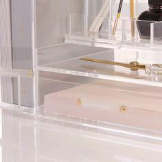 Desktop Organization, Office Organization, Organizing, Cork Frame, Gold Desk Accessories, Desk Inspo, Beauty Lounge, Acrylic Organizer, Drawer Organisers