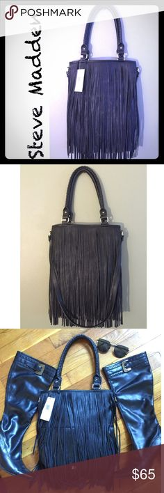 "⬛️ Steve Madden Black Fringe Tote- NWT⬛️ ⬛️ Steve Madden Black Fringe Tote. So in trend and goes with everything.⬛️ Pretty rope detailing on strap shown in last photo.⬛️ Measures: 14"" X 13"". ⬛️ Strap: 9.5"" & long strap 17"".⬛️ Can be worn as tote or CrossBody.⬛️ NWT⬛️ 🚫NO TRADE🚫 PRICE FIRM🚫 Steve Madden Bags Totes"