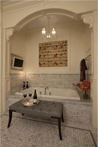 bathroom ideas wine + watching classic movies + bubble bath..... I would never leave the bathroom!!