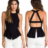 Cheap shirt skirt, Buy Quality top quality shirts directly from China shirt sexy Suppliers: Summer Women Chiffon Crochet Vest Blouse Sexy Open Back Sleeveless Shirt Tank Tops Black Blusas Femininas 63 Professional Model, Blouse Sexy, Tie Blouse, Wrap Blouse, Ruffle Blouse, Chemises Sexy, Black Tank Tops, Crop Tops, Sleeveless Crop Top