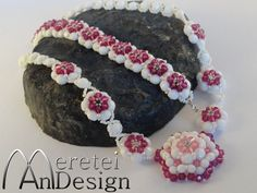 Set of Starflower necklace and bracelet with swarovski fire polished crystals. Flower Bracelet, Christmas Sale, Xmas Gifts, Crochet Necklace, Beaded Bracelets, Inspiration, Crystals, My Favorite Things, Swarovski