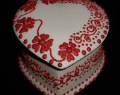 2007 Porcelain Red Flower Ornamental Jewelry Box