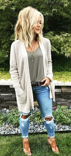 #fall #outfits women's grey long-sleeve cardigan and distressed denim fitted jeans