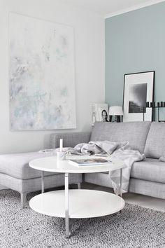 Salon gris et bleu - Appartement 1D