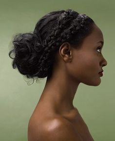 Loose Braids - side part and divide into to sections, then french braid, secure with an elastic band and pull into a loose bun, wrapping braids around and fastening with bobby pins - set with hair spray. Braided Updo, Braided Hairstyles, Wedding Hairstyles, Curly Prom Hairstyles, Party Hairstyles, Hairstyles Haircuts, Curly Hair Styles, Natural Hair Styles, Updo Styles