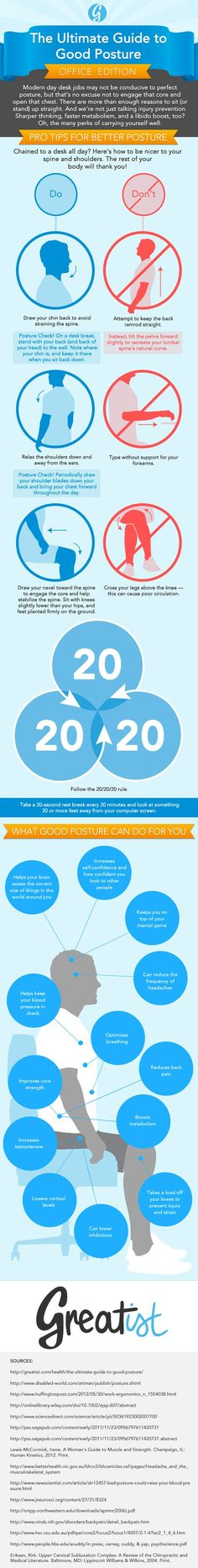 <p>Hour after hour, it's hard to maintain good posture on the job. But sitting tall can mean a healthy boost from head to toe. Get to know the benefits of good posture on the job — in infographic form. </p> https://greatist.com/health/ultimate-guide-good-posture-work-infographic