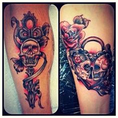 """Couple Tattoo"" (Lock & Key) for my boyfriend (of over 20 years) and I, done by . - ""Couple Tattoo"" (Lock & Key) for my boyfriend (of over 20 years) and I, done by KARMA Tattoo lo - Skull Couple Tattoo, Couple Tattoos Love, Tattoos Skull, Body Art Tattoos, Wife Tattoos, Heart Tattoos, Flower Tattoos, Sleeve Tattoos, Tatoos"