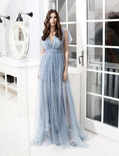 Silver Sandals, A Line Gown, Silver Stars, Plunging Neckline, Baby Blue, Ruffles, Mini Skirts, Glamour, Gowns