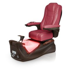 Infinity pedi-spa shown in Burgundy Ultraleather cushion, Mocha base, Aurora LED Color-Changing bowl (shown in red)