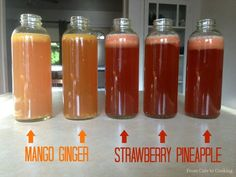 How to Flavor Homemade Kombucha with Fruit - mango ginger and strawberry pineapple flavors healthy probiotics fermented tea drink easy recipe Kombucha Drink, Kombucha Flavors, Kombucha Scoby, How To Brew Kombucha, Probiotic Drinks, Making Kombucha, Fermented Tea, Fermented Foods, Vegetarian Cooking