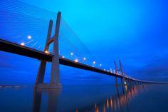 18km-long Vasco da Gama bridge, River Tagus, Lisbon, Portugal