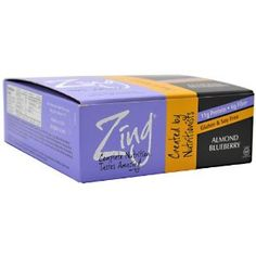 All Natural Zing Bars Almond Blueberry, 12 - 1.76 Ounce Bars by Zing Nutrition Bar. $22.05. 11g protein & 5g fiber.. Wheat free, gluton free. All Zing Bars conform to World Health Organization guidelines for gluten free foods.. We designed the Zing Bars so that our patients with Celiac Disease could enjoy a 100% natural snack that's both high in protein & gluten free.. 12 count case, each bar 1.76oz. Almond butter with organic wild blueberries.. + + Product Det...