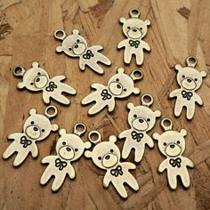 Teddy Bear Charms Antique Brass Tone 2 Side Charms A259 by CharmShopCrafts on Etsy